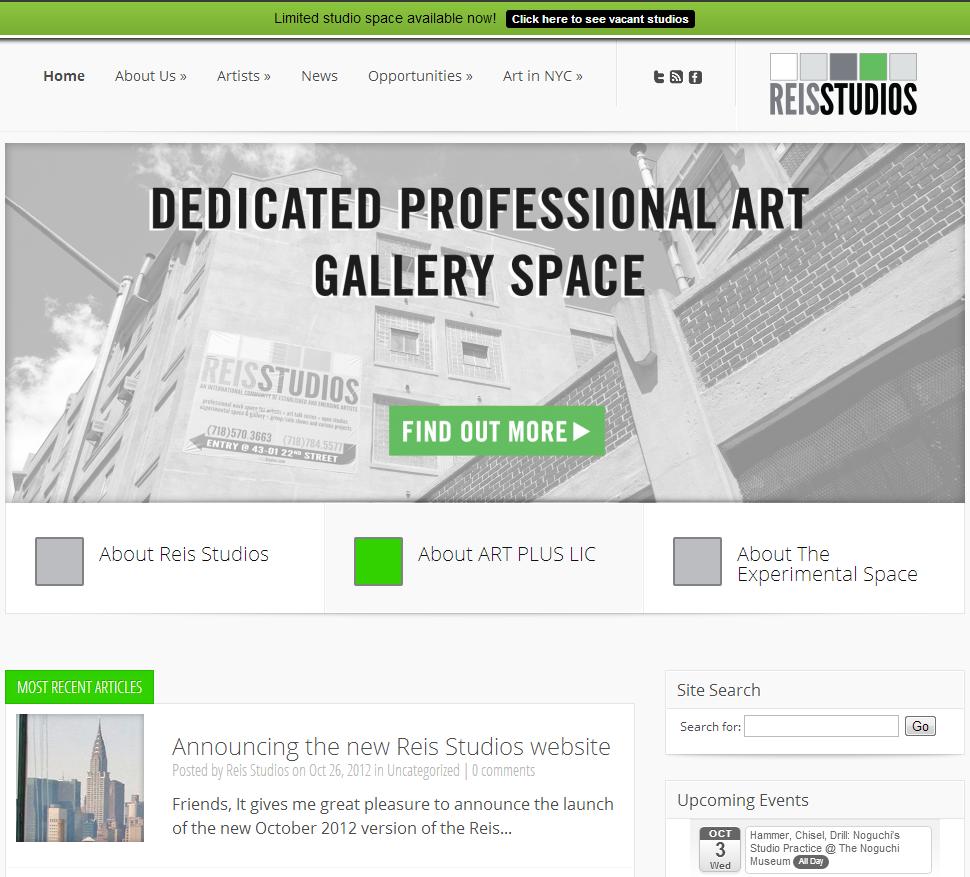 Reis Studios home page (screen shot)